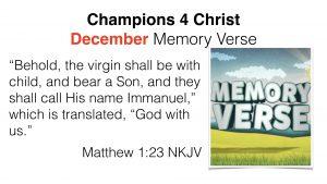 c4c december memory verse